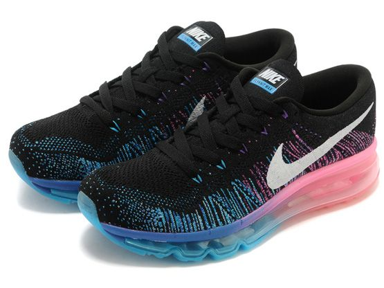 Women    Air Max 2014 Flyknit Running Shoes Color Black&blue&pink