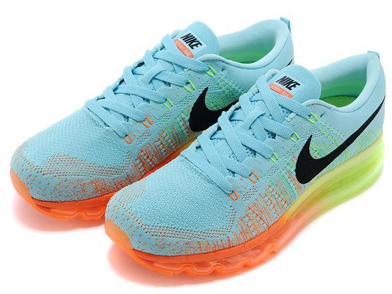 Air Max Flyknit Shoe Color Light Blue Orange Green