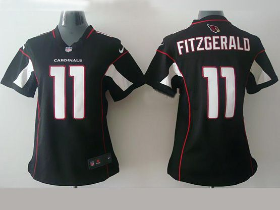 Women  Nfl Arizona Cardinals #11 Larry Fitzgerald Black Game Jersey