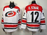 Mens reebok nhl carolina hurricanes #12 e.staal white c patch Jersey