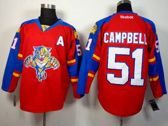 Mens reebok nhl florida panthers #51 campbell red Jersey