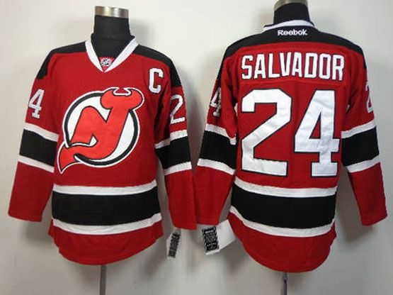Mens reebok nhl new jersey devils #24 salvador red c patch Jersey