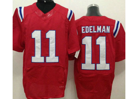 Mens Nfl New England Patriots #11 Edelman Red Elite Jersey