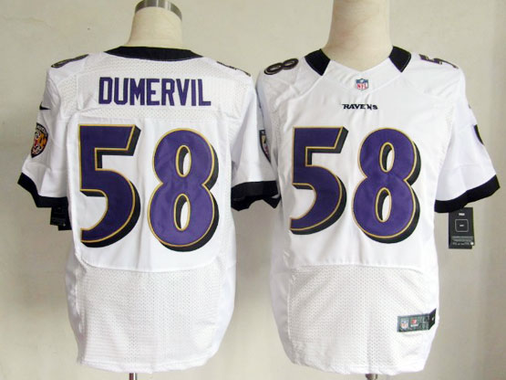 Mens Nfl Baltimore Ravens #58 Elvis Dumervil White Elite Jersey