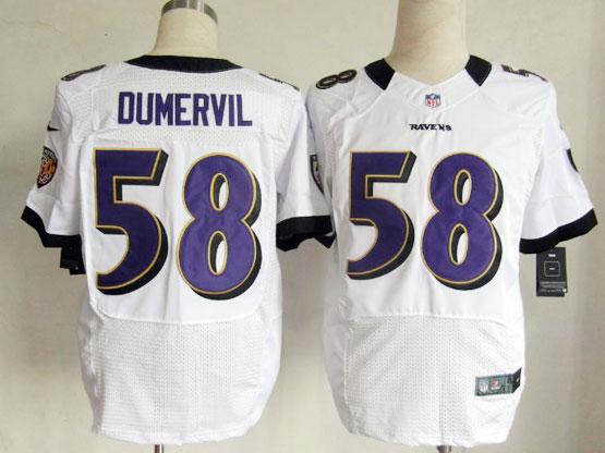 Mens Nfl Baltimore Ravens #58 Elvis Dumervil White Elite Jersey