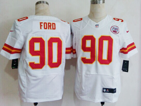 Mens Nfl Kansas City Chiefs #90 Ford White Elite Jersey