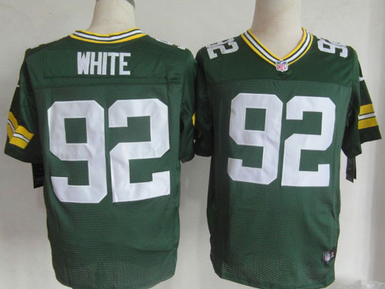 Mens Nfl Green Bay Packers #92 White Green Elite Jersey