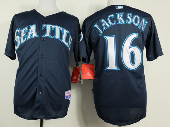Mens mlb seattle mariners #16 jackson dark blue (2014 new seattle) Jersey
