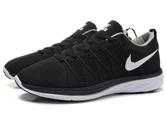 Women    Free Flyknit Lunar 2 Running Shoes Color Black&white