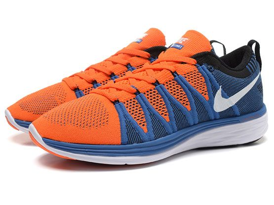 Women    Free Flyknit Lunar 2 Running Shoes Color Orange&blue&white