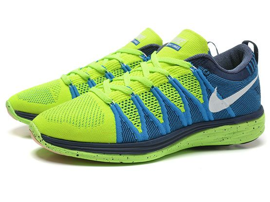 Women    Free Flyknit Lunar 2 Running Shoes Color Light Green&blue&dark Blue