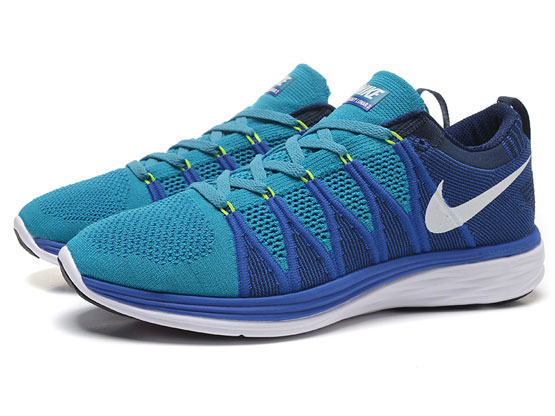 Women    Free Flyknit Lunar 2 Running Shoes Color Light Blue&dark Blue&white