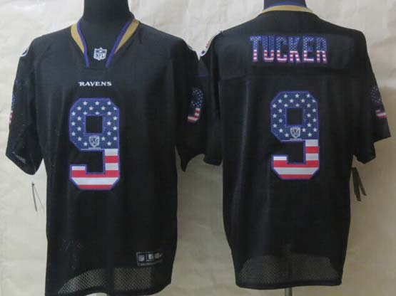 Mens Nfl Baltimore Ravens #9 Justin Tucker Black (2014 Usa Flag Fashion) Elite Jersey