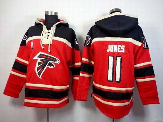 Mens Nfl Atlanta Falcons #11 Jones Red (team Hoodie) Jersey