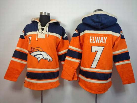 Mens Nfl Denver Broncos #7 Elway Orange (team Hoodie) Jersey