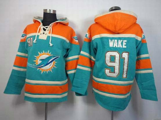 Mens Nfl Miami Dolphins #91 Wake Green (team Hoodie) Jersey