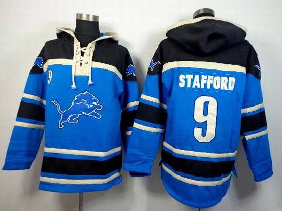 Mens Nfl Detroit Lions #9 Stafford Blue (team Hoodie) Jersey