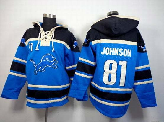 Mens Nfl Detroit Lions #81 Johnson Blue (team Hoodie) Jersey
