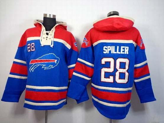 Mens Nfl Buffalo Bills #28 Spiller Blue (team Hoodie) Jersey
