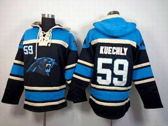 Mens Nfl Carolina Panthers #59 Kuechly Light Blue (team Hoodie) Jersey