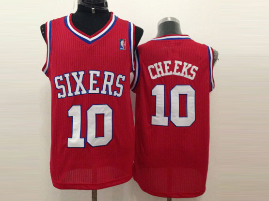 Mens Nba Philadelphia Sixers #10 Cheeks Red (white Number) Mesh Jersey