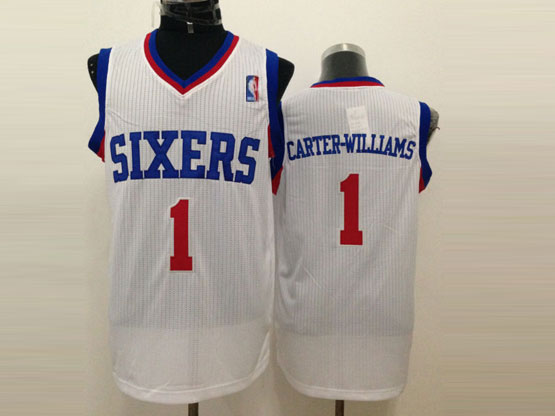 Mens Nba Philadelphia Sixers #1 Carter-williams White (red Number) Mesh Jersey