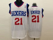 Mens Nba Philadelphia 76ers #21 Embiid White (red Number) Mesh Jersey