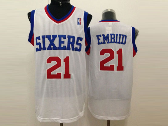 Mens Nba Philadelphia Sixers #21 Embiid White (red Number) Mesh Jersey