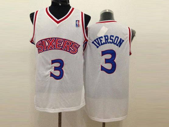 mens nba Philadelphia Sixers #3 Allen Iverson white (blue number) mesh jersey