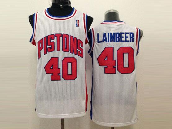 Mens Nba Detroit Pistons #40 Laimbeer White Revolution 30 Jersey (m)