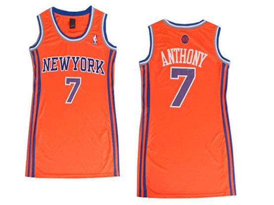 women  nba New York Knicks #7 Carmelo Anthony orange jersey