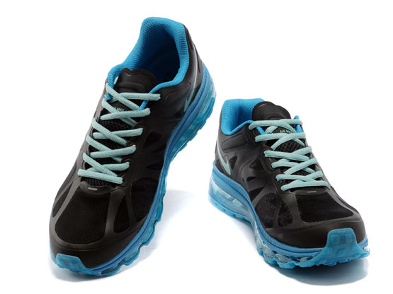 Women    Air Max 2012 Running Shoes Color Black&blue