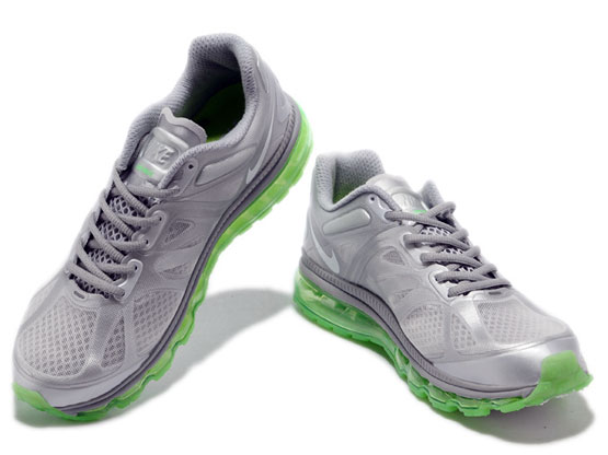 Women    Air Max 2012 Running Shoes Color Silvery&green