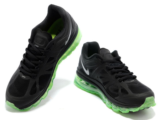 Women    Air Max 2012 Running Shoes Color Black&green