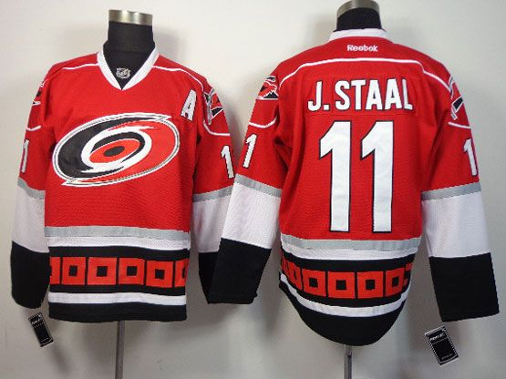 Mens reebok nhl carolina hurricanes #11 j.staal red a patch Jersey