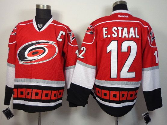 Mens reebok nhl carolina hurricanes #12 e.staal red c patch Jersey