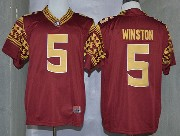 Mens Ncaa Nfl Florida State Seminoles #5 Winston Red (2014 New Gold Number) Limited Jersey