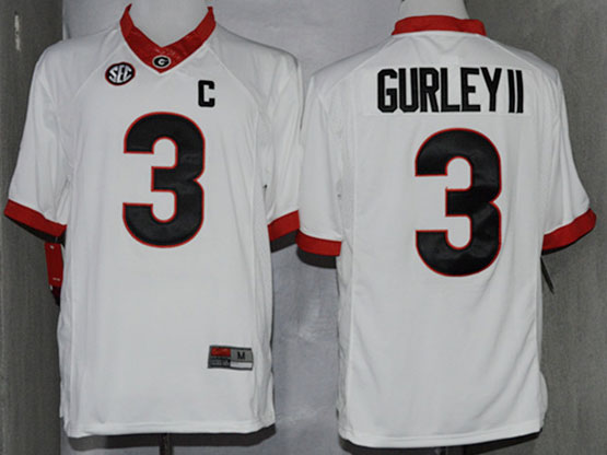 Mens Ncaa Nfl Georgia Bulldogs #3 Gurley Ii White Sec C Patch Limited Jersey