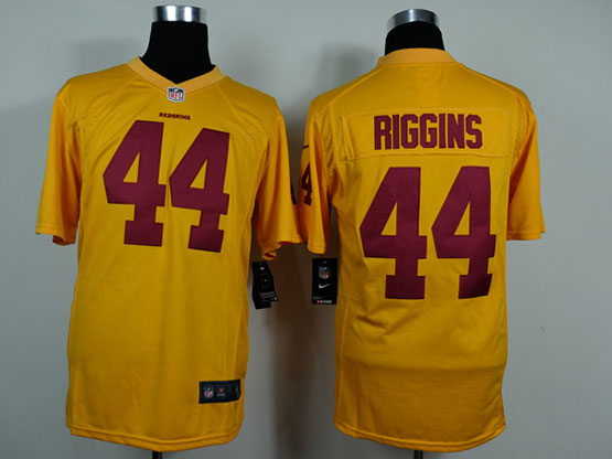Mens Nfl Washington Redskins #44 Riggins Yellow Game Jersey