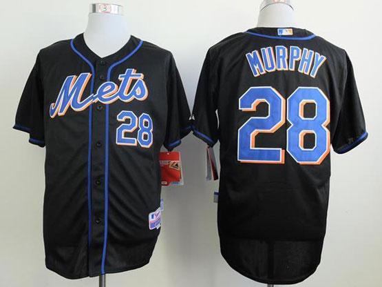 Mens mlb new york mets #28 murphy black Jersey