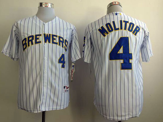 Mens mlb milwaukee brewers #4 molitor white (blue stripe) Jersey