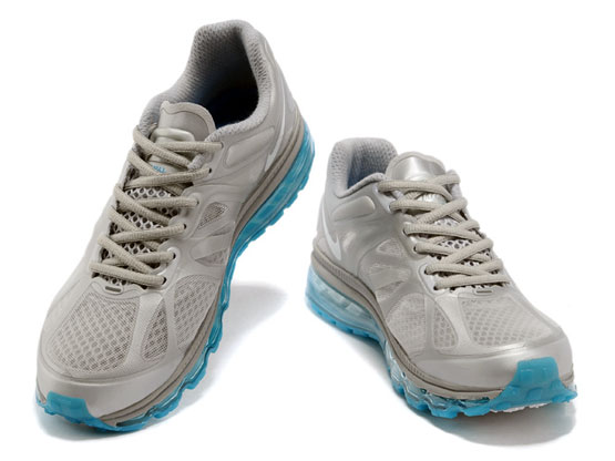 Women    Air Max 2012 Running Shoes Color Silvery&white&blue