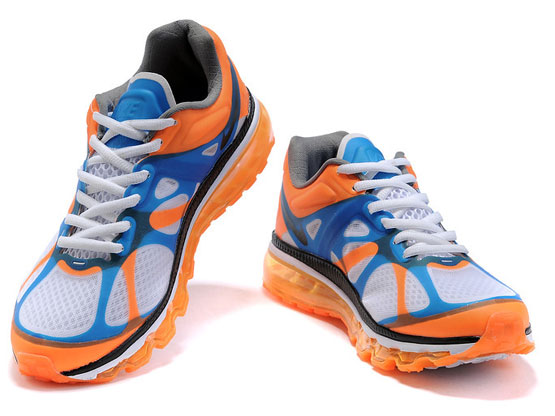 Women    Air Max 2012 Running Shoes Color Orange&white&blue