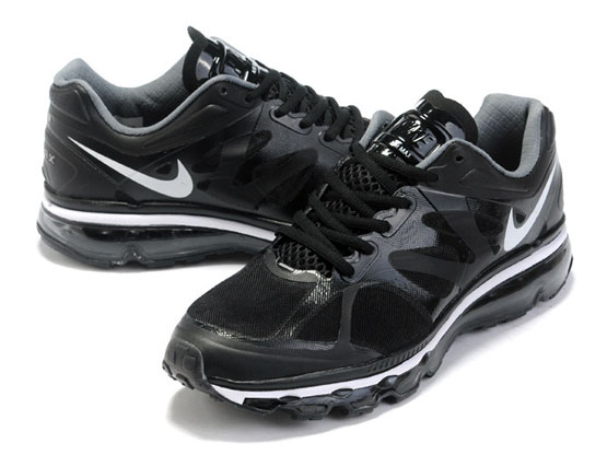 Women    Air Max 2012 Running Shoes Color Black&white