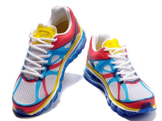 Women    Air Max 2012 Running Shoes Color White&red&yellow&blue