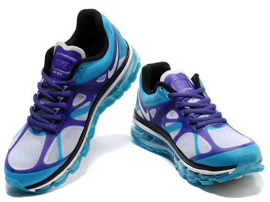 Women    Air Max 2012 Running Shoes Color White&blue&black