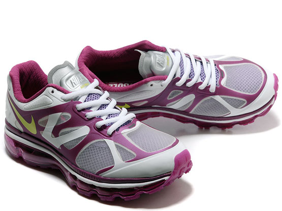 Women    Air Max 2012 Running Shoes Color White&purple&yellow