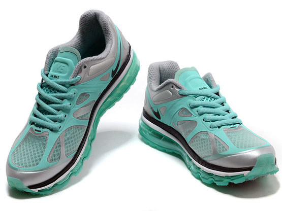 Women    Air Max 2012 Running Shoes Color Silvery&black&white