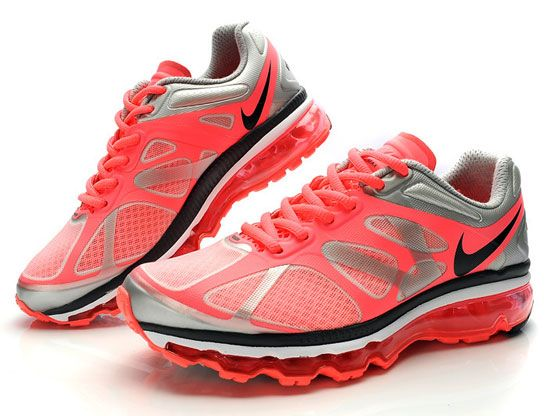 Women    Air Max 2012 Running Shoes Color Silvery&red&black