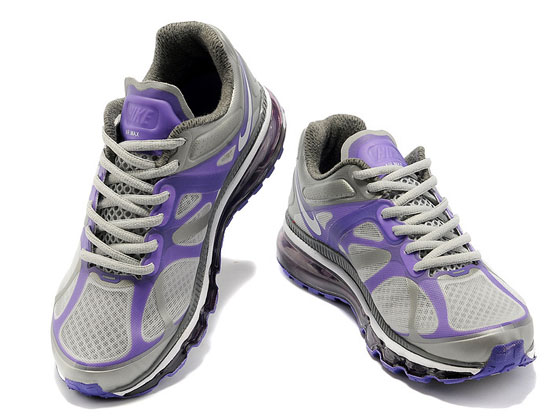 Women    Air Max 2012 Running Shoes Leather Color Silvery&blue